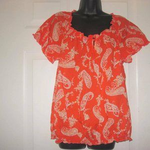 ST. JOHN'S BAY SIZE 1X ORANGE PAISLEY FLORAL TOP